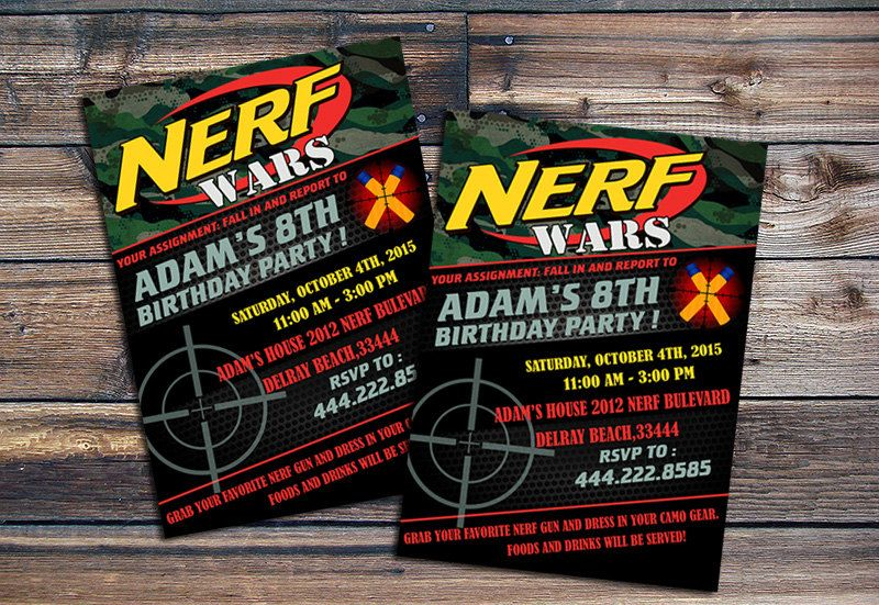 NerfpartyinvitationstobringyourdreamPartyinvitationinto - Party invitation template: nerf war party invitation template