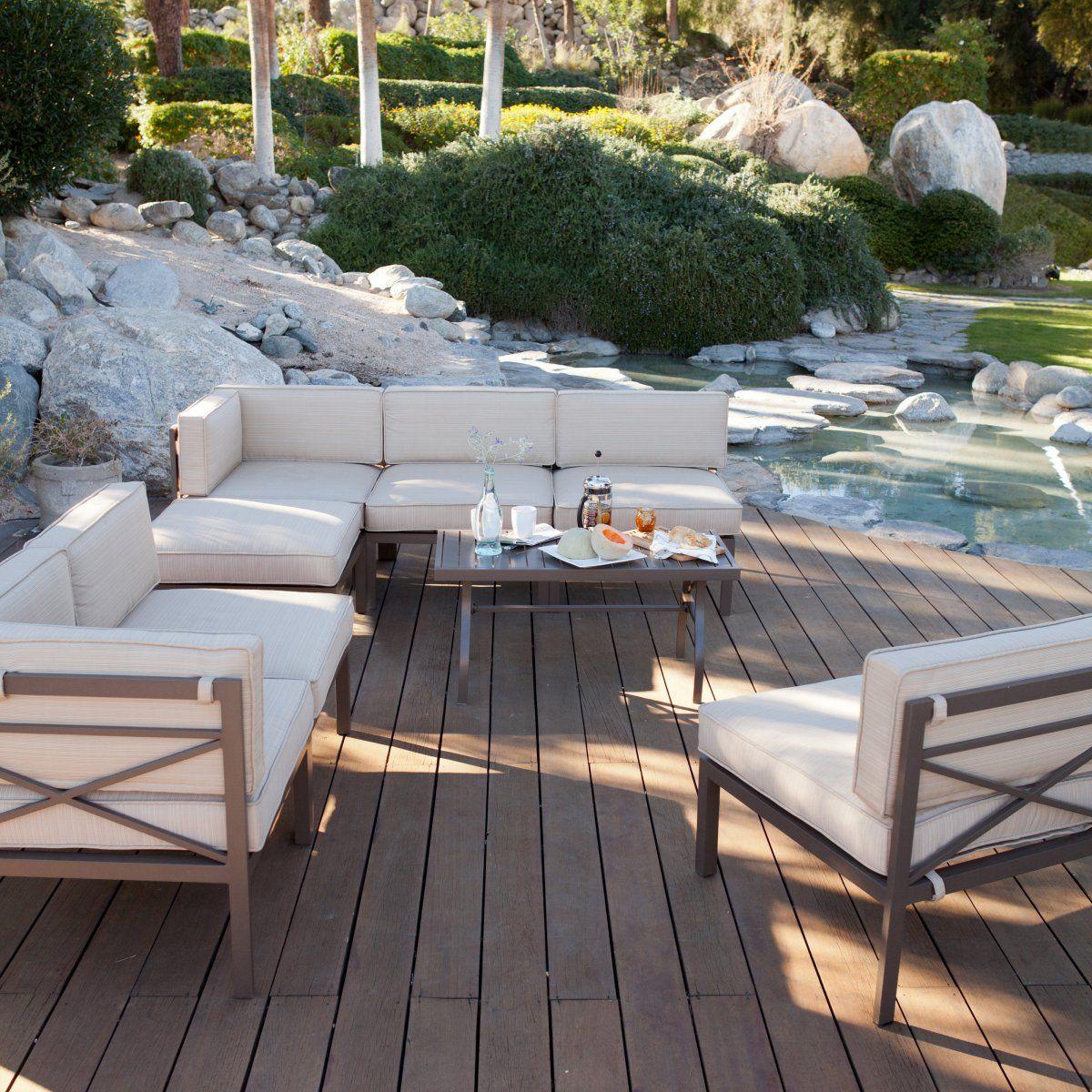 Bellagio 10 pc. Aluminum Sectional Sofa Set - Seats 8 - Conversation ...