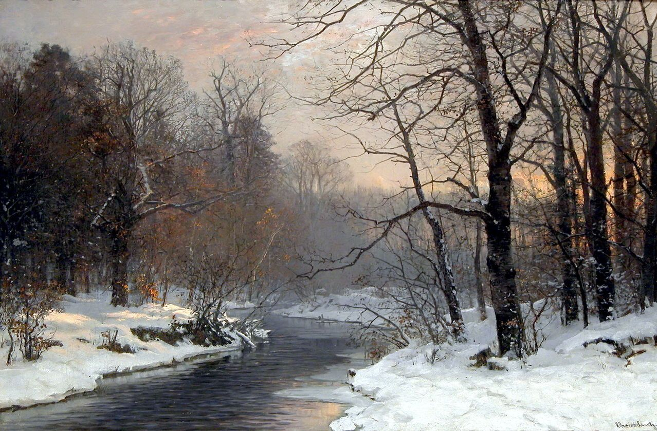 Poboh The Woods In Silver And Gold View Of A River And Snowy Woodland At Dusk Anders Andersen Lundby Landscape Poster Landscape Paintings Winter Painting
