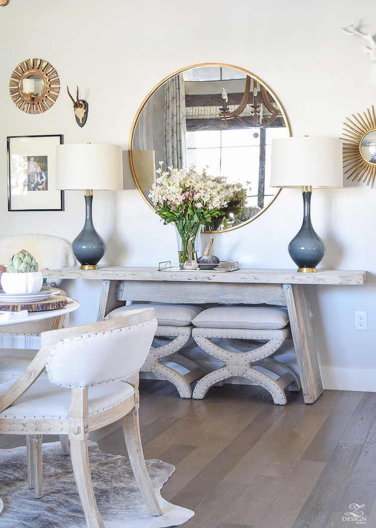 Simple neutral thanksgiving entertaining neutral thanksgiving simple neutral thanksgiving entertaining console table mirrortable lampsdining room geotapseo Images