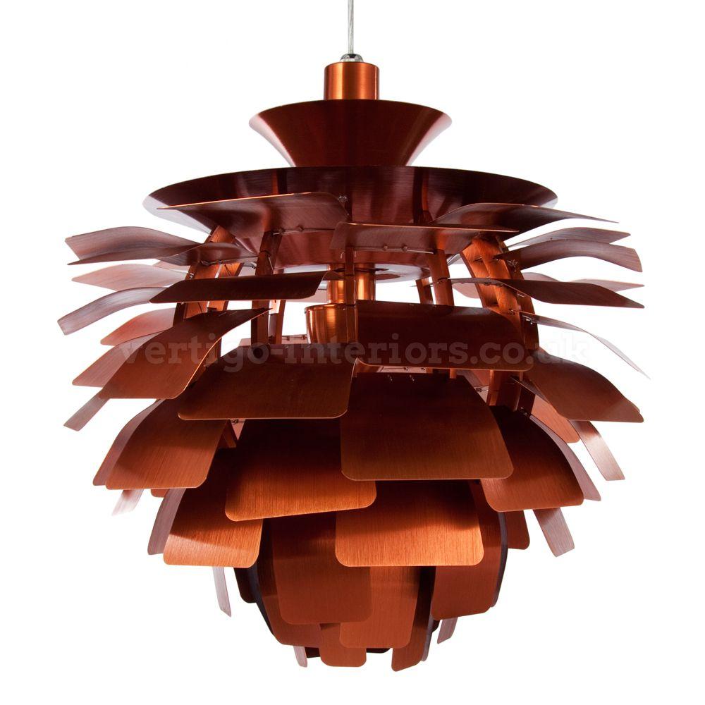 Copper Medium Artichoke Style Pendant Lamp - Inspired By Designs of Poul Henningsen   Vertigo Interiors