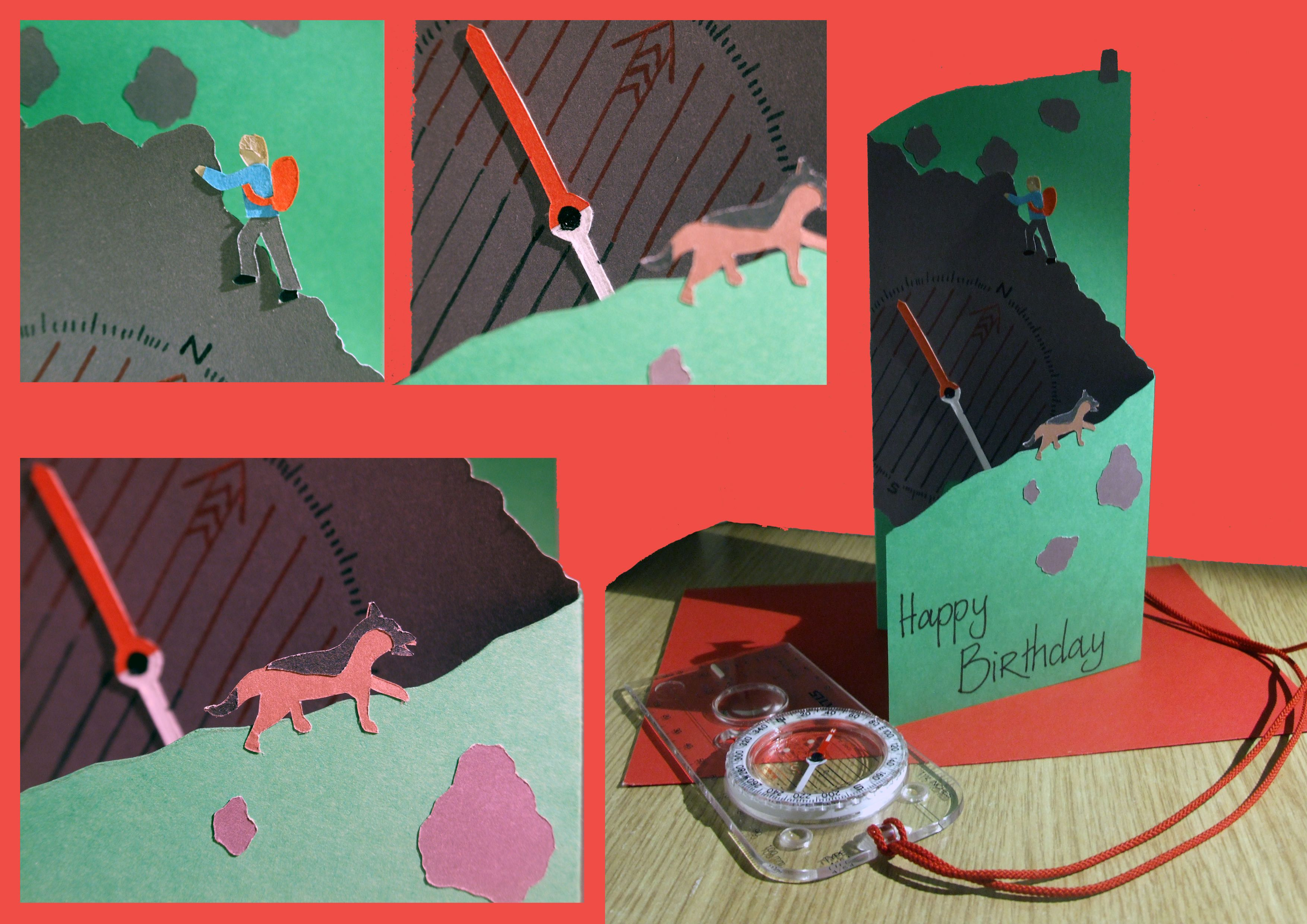 Hiking themed birthday card featuring a paper pieced hiker and – Themed Birthday Cards