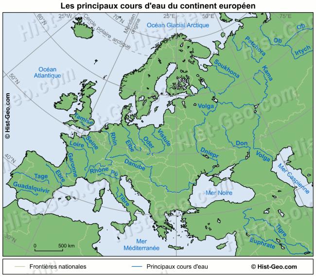 carte des fleuves d europe Carte des principaux fleuves et rivières d'Europe (mit Bildern)