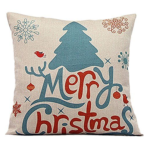 "2015 New Printing Merry Christmas Series Cotton Linen 18"" X 18"" Decorative Throw Pillow Cover Cushion Case Pillow Case (Xmas Tree) ** For more information, visit image link."
