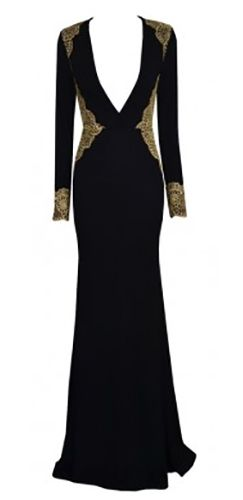 Black Gold Long Sleeve Plunge V Neck Embroidered Accent Bodycon Maxi Dress  Gown 8ffa70d2a