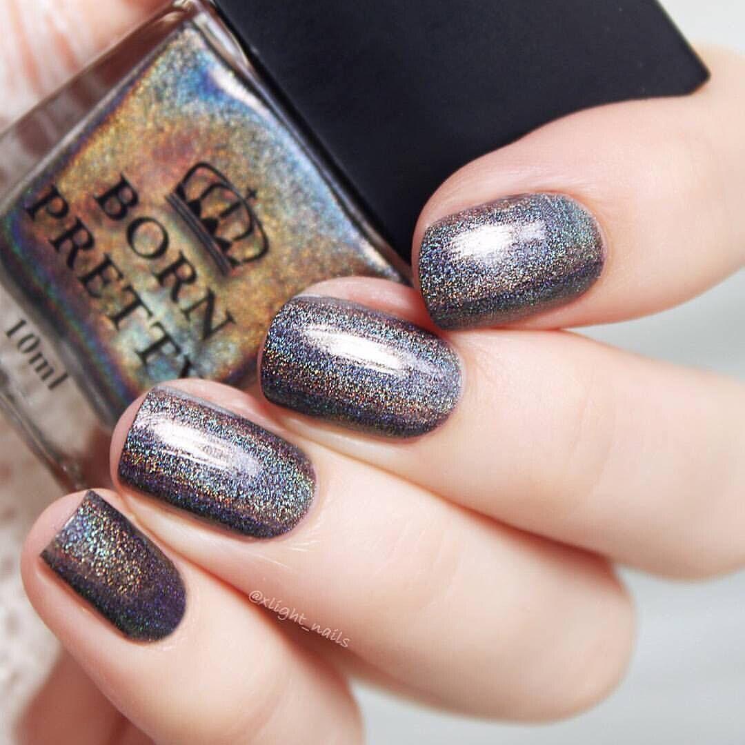 Fantastic dark colored holographic nail polish nail design from ...