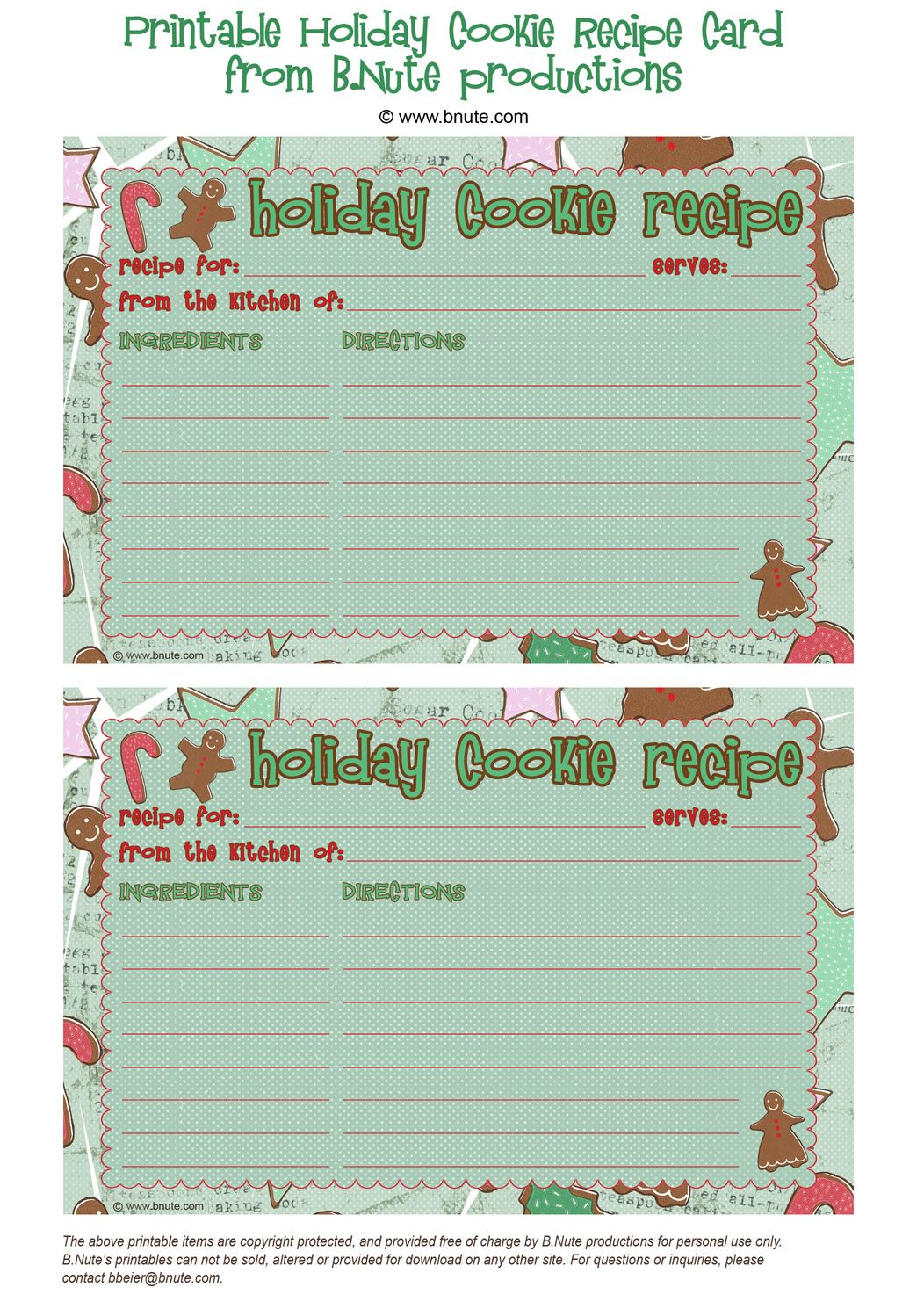Bnute Productions Free Printable Holiday Cookie Recipe Card Christmas Recipe Cards Recipe Cards Template Free Printable Christmas Cards