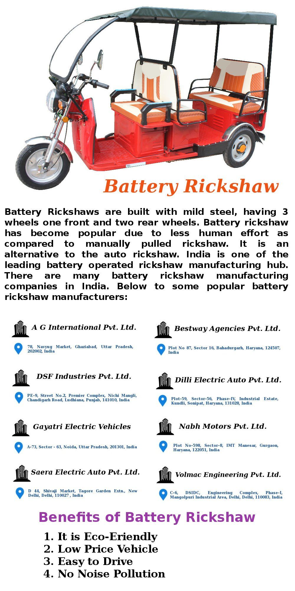 Battery Rickshaw Manufacturing Companies in India