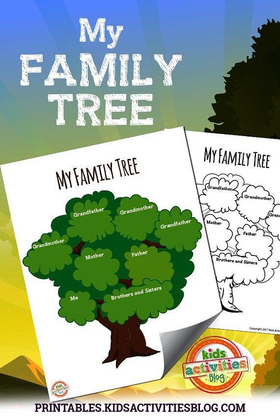 family tree printable worksheet activity for kids kindergarten