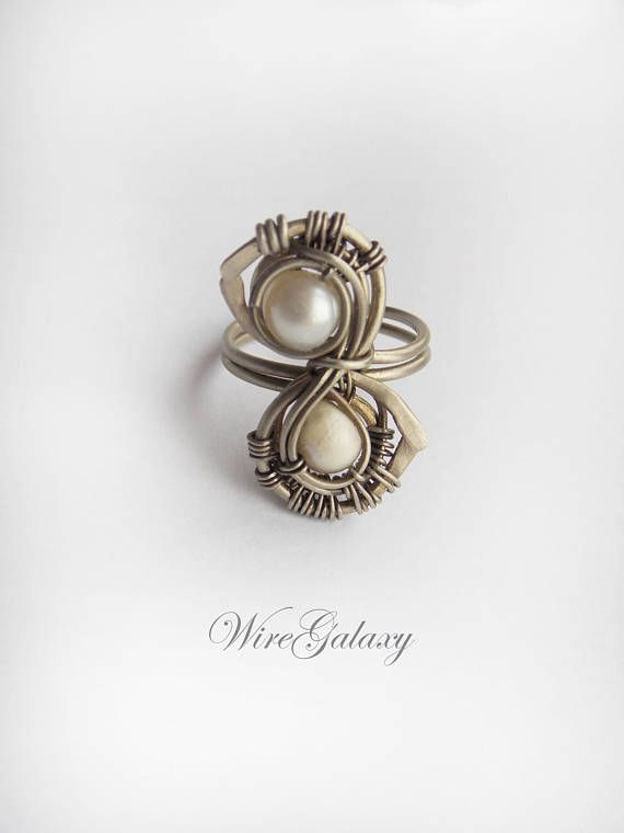Pearls Wire Ring Art Nouveau Wire wrap Contemporary Ring ...
