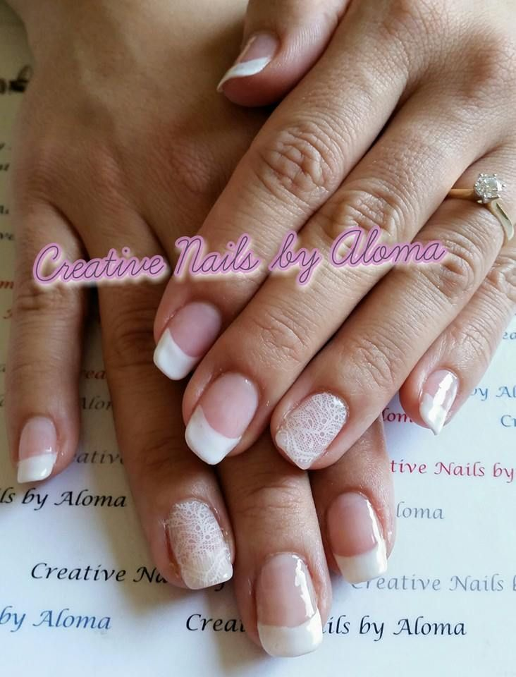 Bio Sculpture Gel - Bridal French with feature stamping