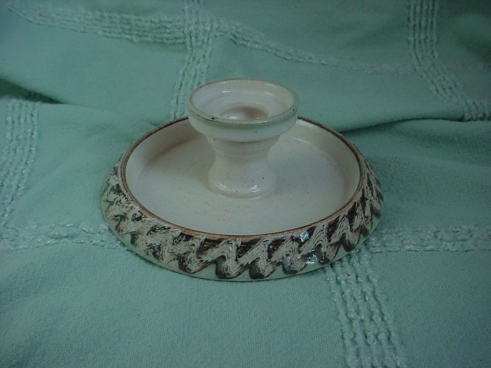 Vtg  Pottery Candlestick with Drip Tray JH Door County Beige with Textured Edge