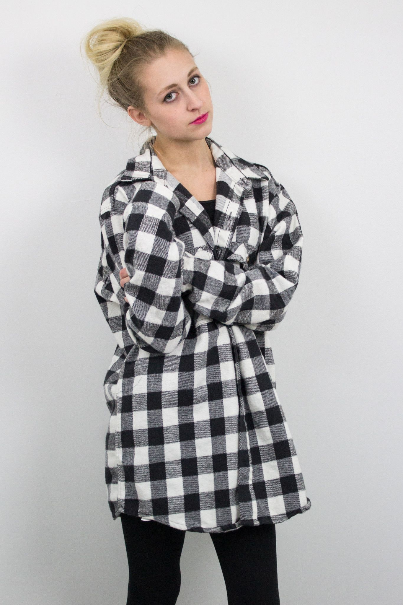 Vintage Black And White Buffalo Plaid Flannel Shirt