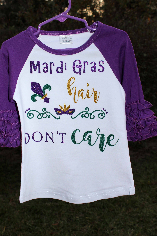 ae2d447fd Mardi Gras Hair Dont Care Icing Ruffle Shirt, Purple and White Raglan Shirt,  Mardi Gras Girl Glitter Vinyl Shirt, Mardi Gras Boutique Shirt by ...