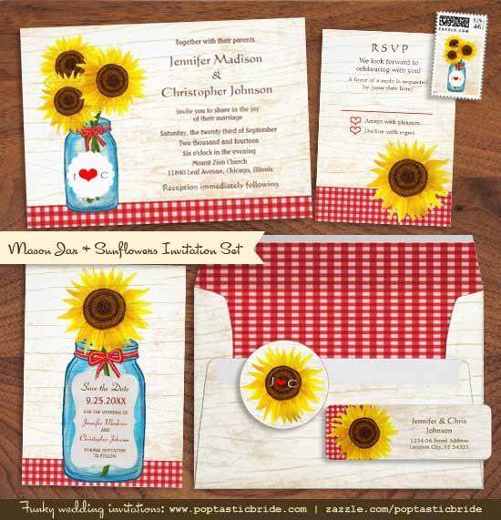 mason jar & sunflowers invitation suite