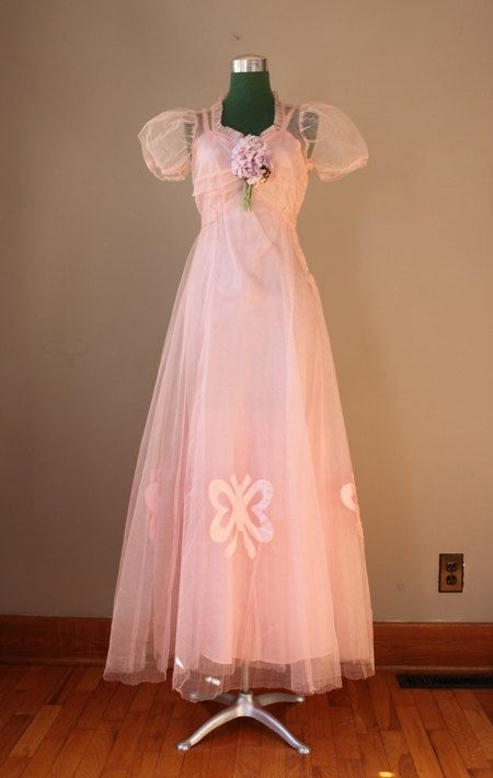 1930s Dress / 30s 40s Wistful Pink Formal / 1940s Party Dress ...