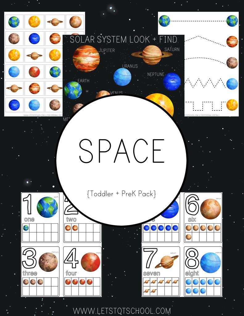 Space Preschool Pack | Space preschool, Space theme ...