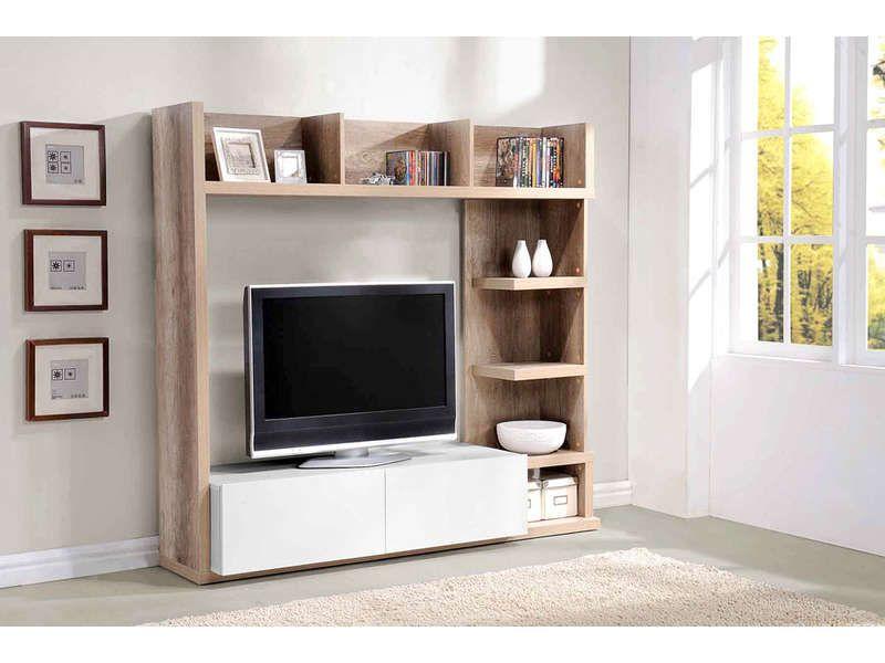 Meuble Tv 2 Tiroirs Leader Coloris Chene Et Blanc Vente De Meuble Tv Conforama Meuble Tv Mural Meuble Tv Mobilier De Salon