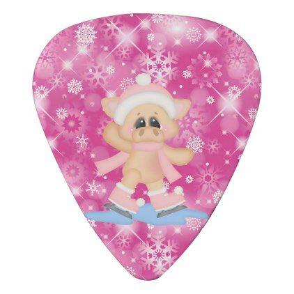 Girl Pig Ice Skating Pastel Bokeh Pink Guitar Pick - girly ...