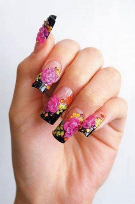 3d Nail Art Design Black French Tips With Pink 3d Flower Nail