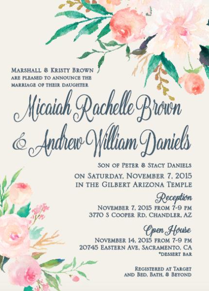 Micaiah And Andrew Utah Announcements Wedding Open House Mormon Wedding Invitations Lds Wedding Invitations