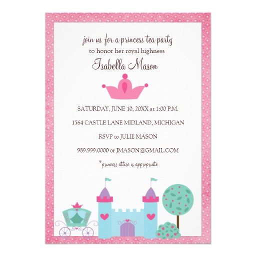 Princess Tea Party Invitations  Prince And Princess Theme