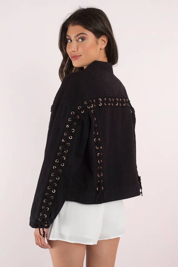 Lorelai Lace Up Denim Jacket Denim And Lace Tight Mini Dress Black Bodycon Dress