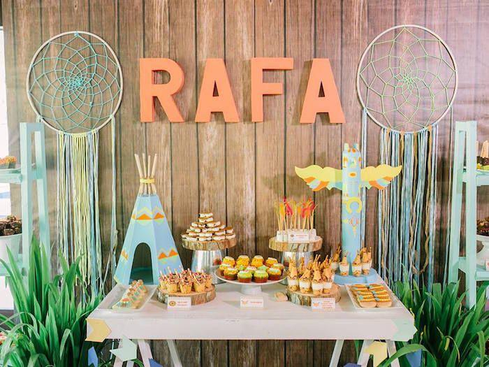 Dessert Table from a Camp Rafa - Pow Wow 1st Birthday Party via Kara's Party Ideas | KarasPartyIdeas.com (34)