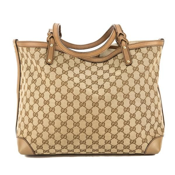 9cfc83d2220 Gucci Beige Leather GG Monogram Canvas Tote Bag (Pre Owned) - 3721026