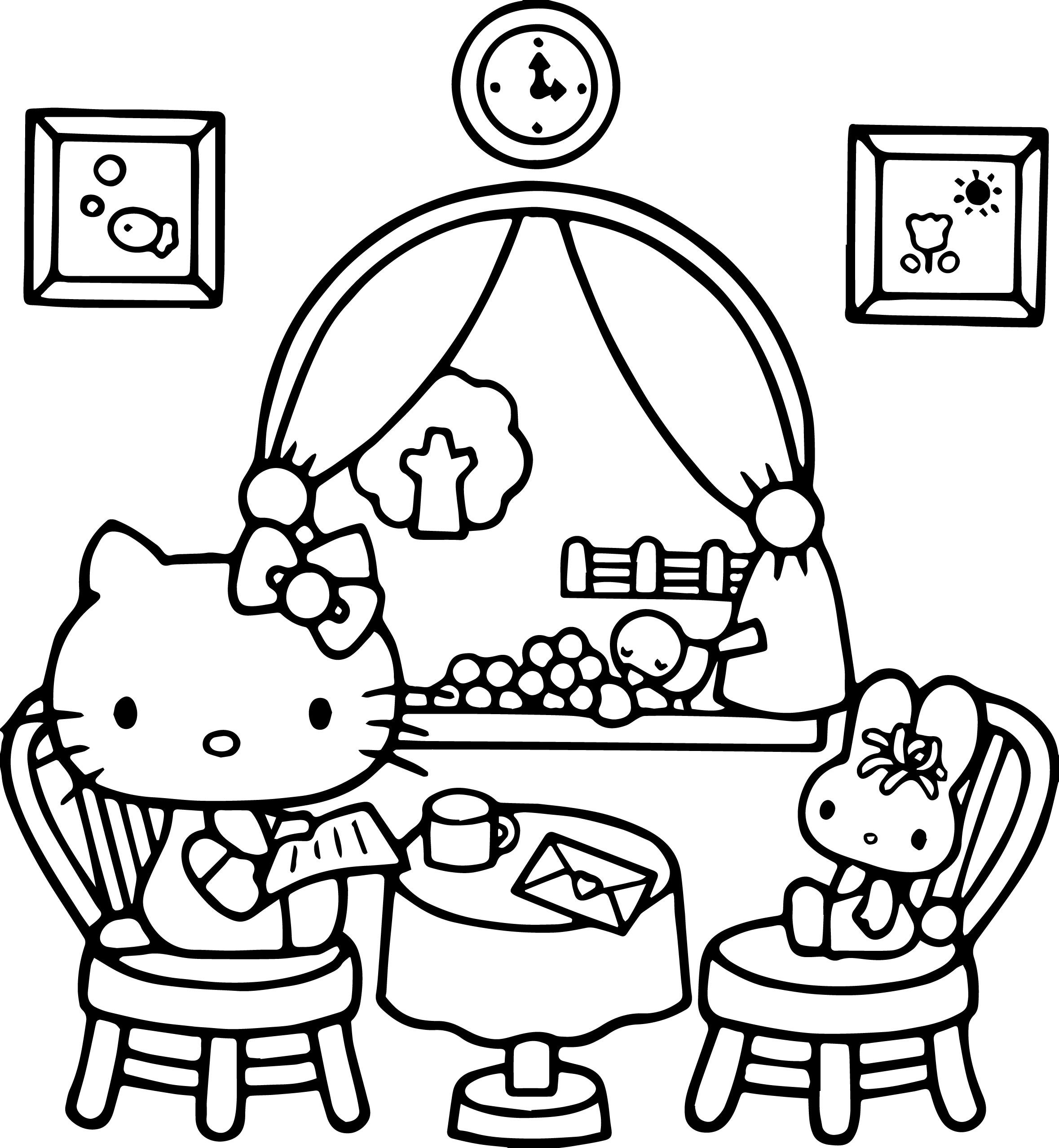 Nice Hello Kitty At Home Play Bear Coloring Page 헬로키티 아기