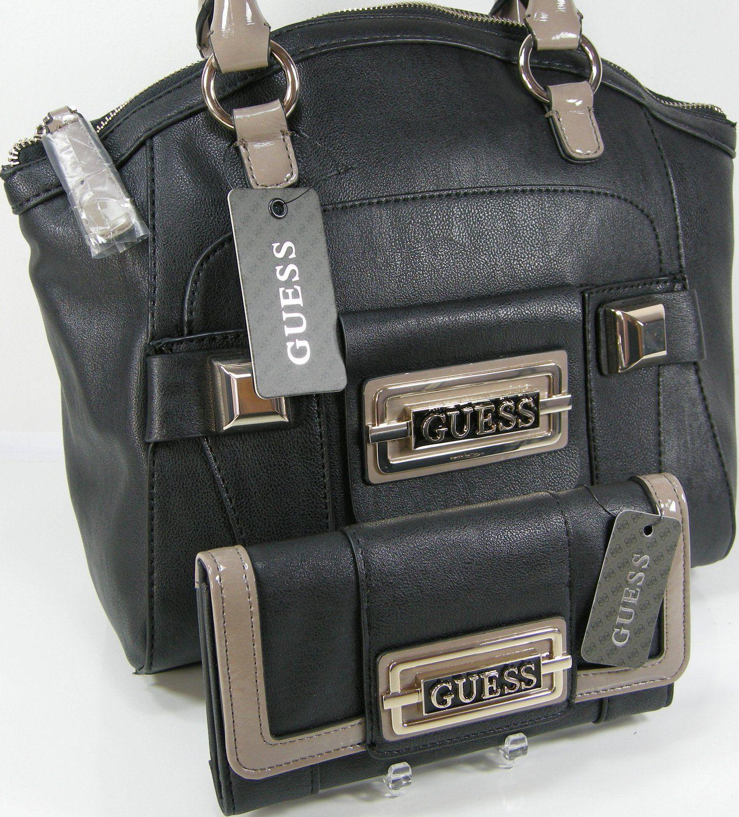 4e71023db Guess G Logo Purse Satchel Hand Bag & Checkbook Wallet Matching Set Black