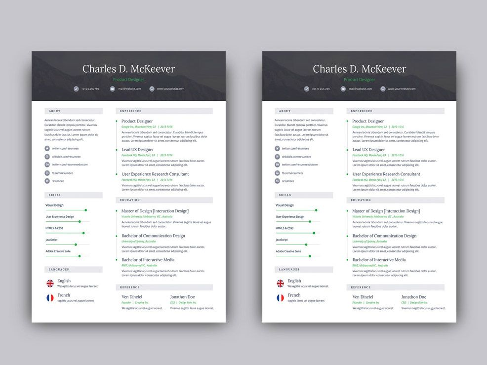 Free psd one page resume template one page resume