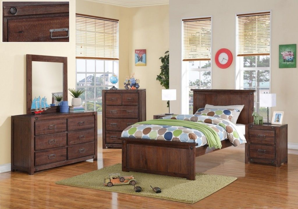Brushed Brown Twin Bedroom