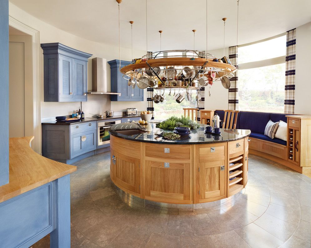 Kitchen:Blue White Kitchen Design Ideas Natural Wood Round Unique Kitchen  Islands With Shelve Light