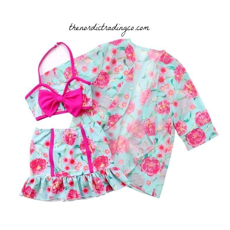 678e6b9ba25 Toddler Baby Girl 3 pc Bikini   Cover Up Beach Pool Swimming Sun Bathing  Suit Pink