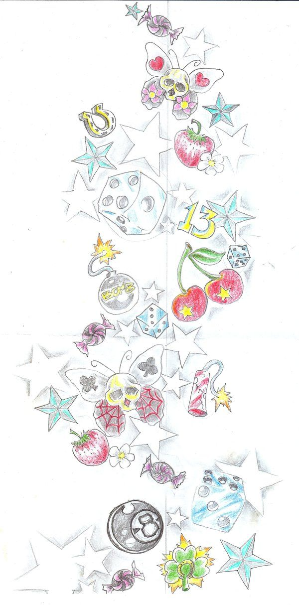 Girly Tattoo Flash by RoxxyBones on DeviantArt  |Cool Drawings Flash Girly