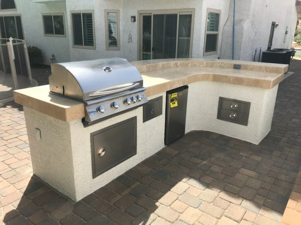 Gorgeous Custom Bbq Island Created By Living Water Lawn Garden Our Crew Spent The Time To Get A Match On The Stucco Travertine Tile Bbq Island Bbq Equipment
