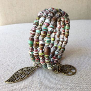 Handmade Bracelet Paper Bead Memory Wire Wrap Ooak Jewelry Fall Color