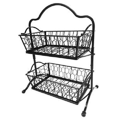Twotier Chicken Wire Basket Stand Black Wrought Iron Kitchen