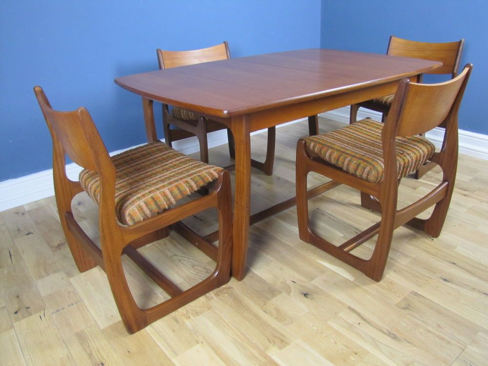 Rare Mid Century Retro Portwood Teak Dining Table Chairs Teak