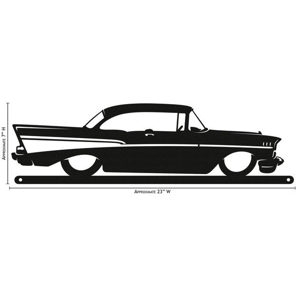 Hand Made Farrell 57 Chevy Simple Silhouette New (u20ac34) ❤ Liked On Polyvore  Featuring Home, Home Decor, Grey, Home U0026 Living, Home Décor, Wall Décor,  ...