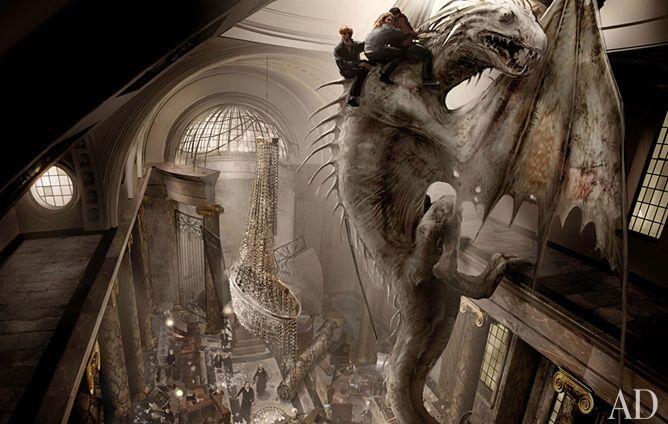Gringotts Dragon Escape Concept Drawing Harry Potter Film Fantastische Tierwesen Harry Potter Bilder