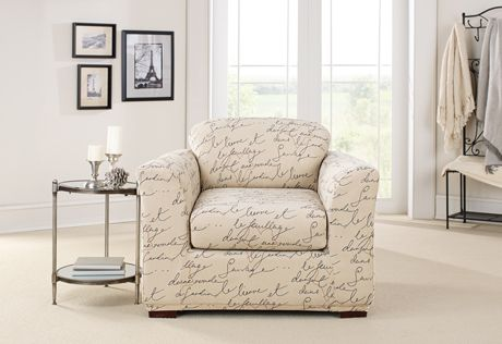 Sure Fit Slipcovers Stretch Pen Pal By Waverly Separate Seat Slipcovers Chair Slipcovers For Chairs Dining Chair Slipcovers Furniture