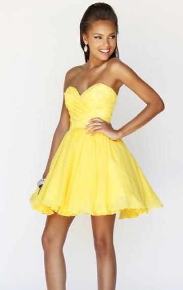 Robe de cocktail courte jaune