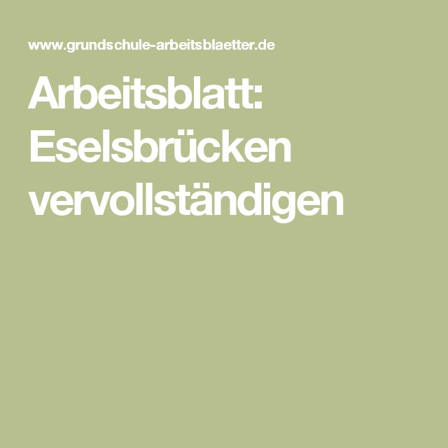 Arbeitsblatt: Eselsbrücken vervollständigen