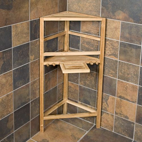 Teak Shower Caddy Stand Home Teak Shower Organizers NTW Triangular Corn