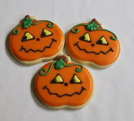 HALLOWEEN PUMPKIN FACE 1 Dozen (12) Decorated Sugar Cookies by - halloween pumpkin cookies decorating