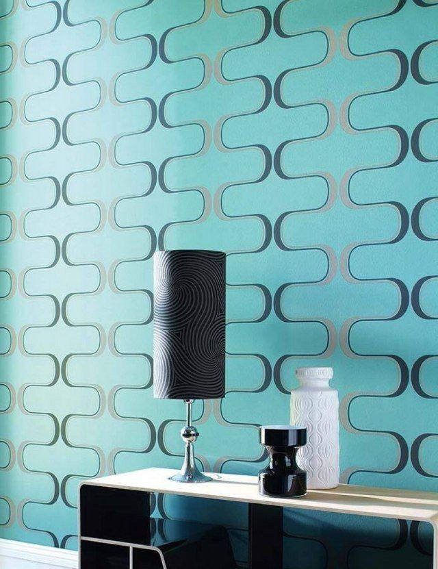 Tapete In Turkis Verleiht Den Wanden Eine Grosse Ausdrucksstarke Tapeten Ideen Tapeten Wohnzimmer Wohnzimmer Tapeten Ideen