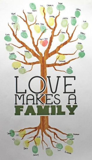 Make a Fingerprint Family Tree: Use an ink pad and kiddie thumbs to create a fingerprint family tree. It's a great way to teach your lil ones about their family history.   Source: Leaves of Love