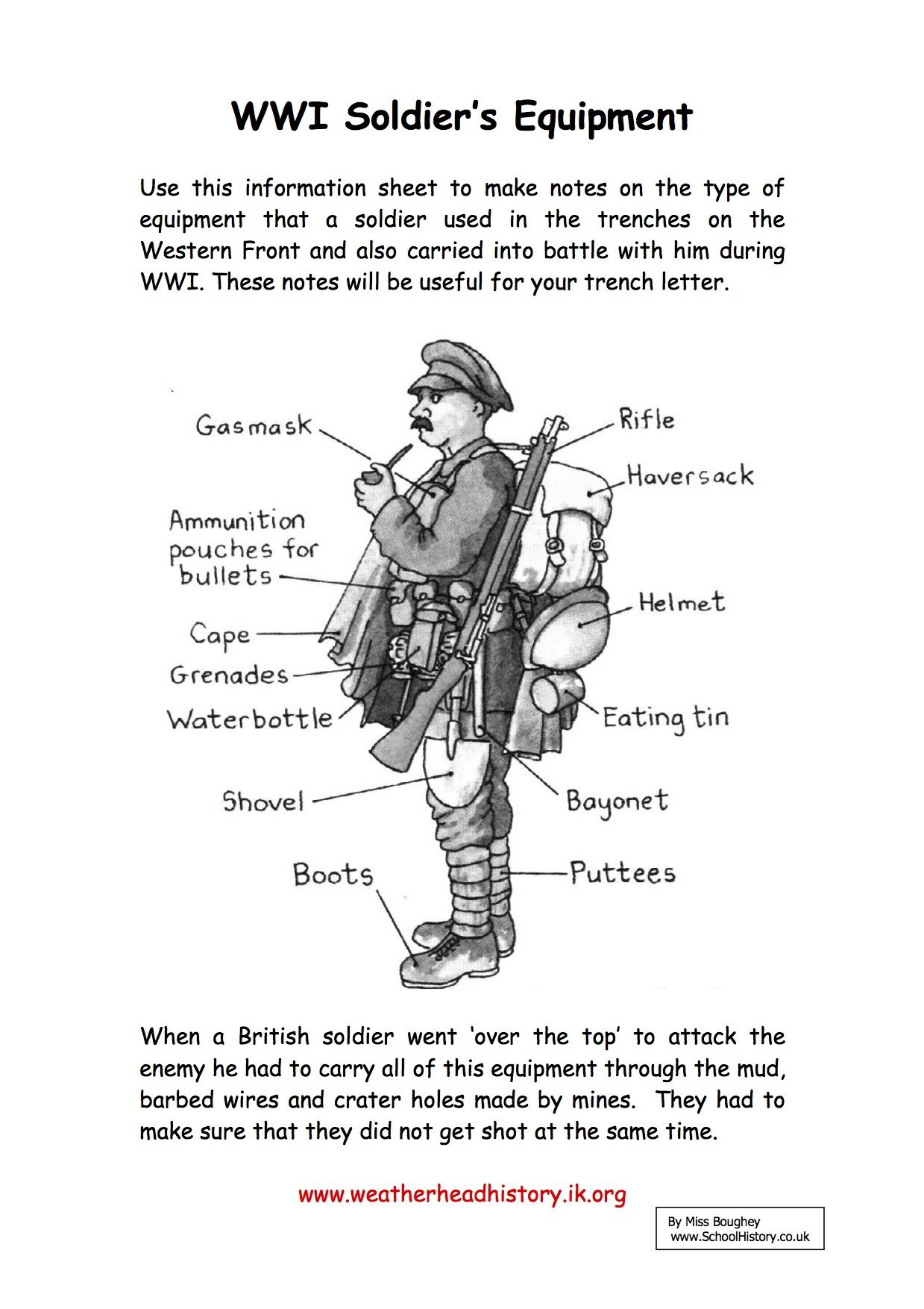 Soldiersequipment History Worksheets World War Worksheets
